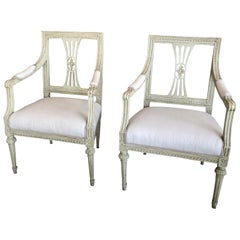 Pair of Antique Swedish Painted Gustavian Armchairs, circa 1810-1820