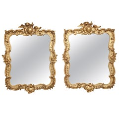 Pair of Antique Swedish Rococo Style Giltwood Mirrors, Mid-19th Century