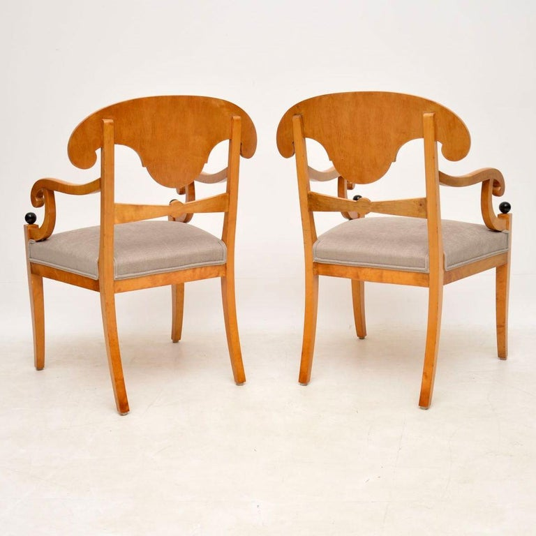 Pair of Antique Swedish Satin Birch Armchairs For Sale 5