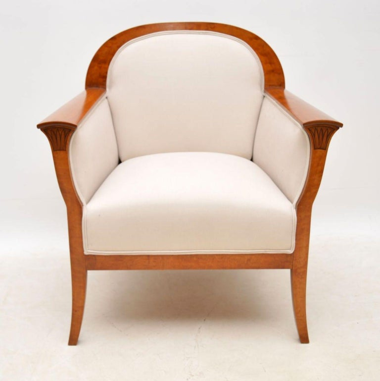 Pair of Antique Swedish Satin Birch Armchairs For Sale 6