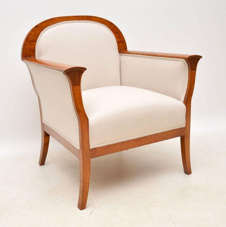 Pair of Antique Swedish Satin Birch Armchairs For Sale 7