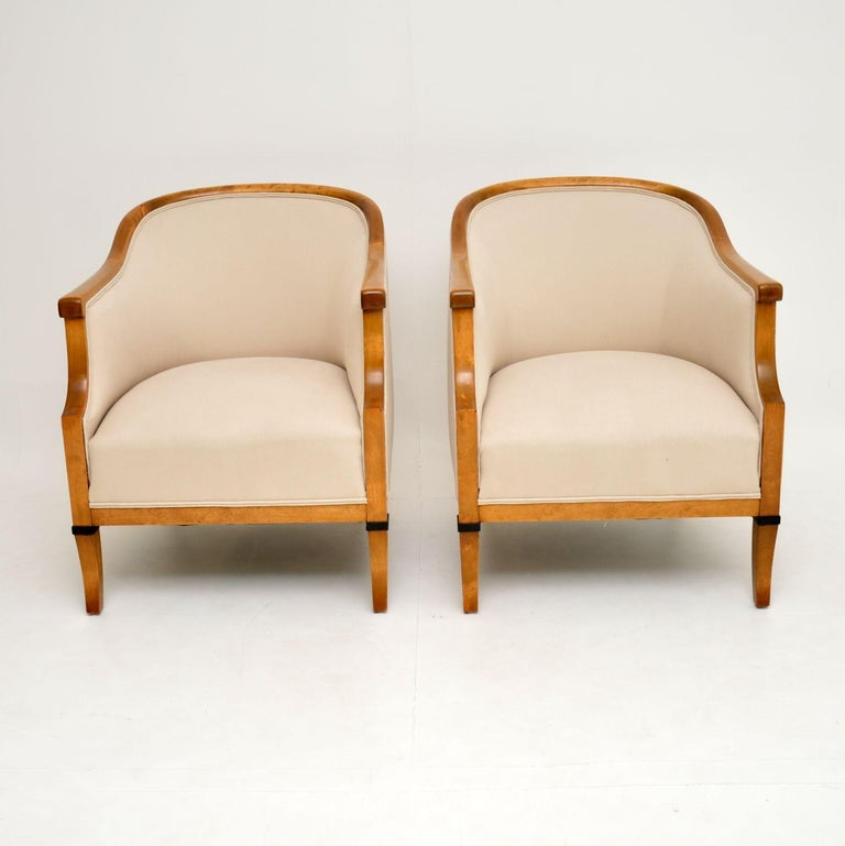 Empire Pair of Antique Swedish Satin Birch Armchairs For Sale