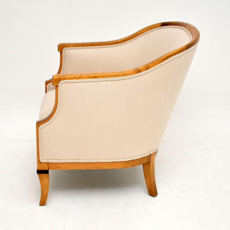 Early 20th Century Pair of Antique Swedish Satin Birch Armchairs For Sale