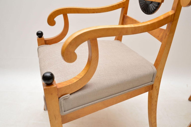 Pair of Antique Swedish Satin Birch Armchairs For Sale 4