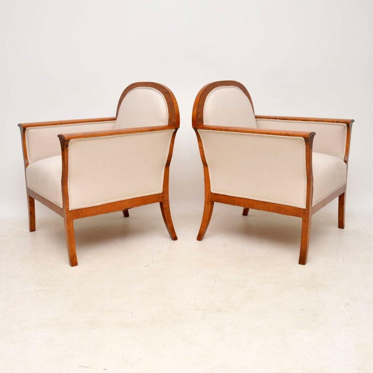 Pair of Antique Swedish Satin Birch Armchairs For Sale 3
