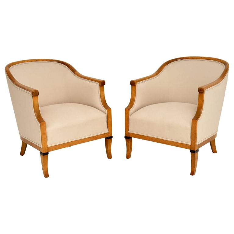 Pair of Antique Swedish Satin Birch Armchairs For Sale