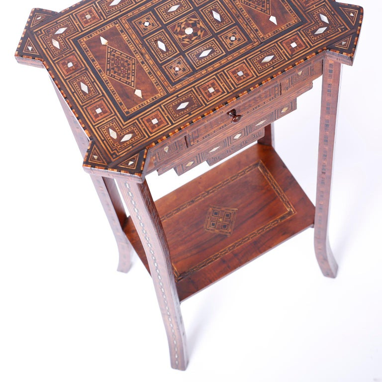 Pair of Antique Syrian Inlaid Stands or Tables For Sale 3