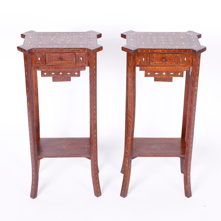 Moorish Pair of Antique Syrian Inlaid Stands or Tables For Sale