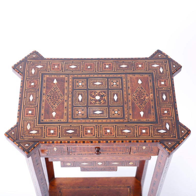 Mother-of-Pearl Pair of Antique Syrian Inlaid Stands or Tables For Sale