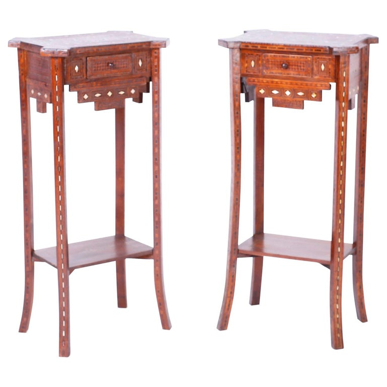 Pair of Antique Syrian Inlaid Stands or Tables For Sale