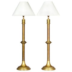 Pair of Antique Tall Brass Table Lamps