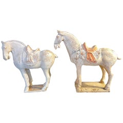 Pair of Antique Tang Style Pottery Horses
