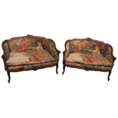 Pair of Antique Tapestry Settees