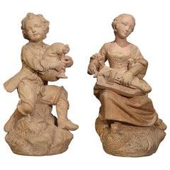 Pair of Antique Terracotta Statues, Paris, circa 1880