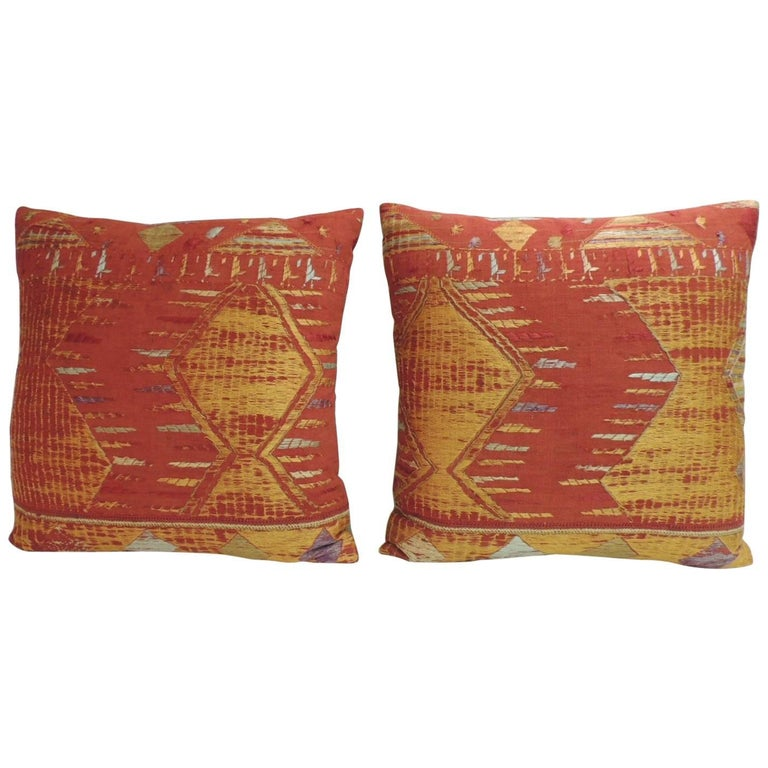 """Pair of Antique Textile """"Phulkari"""" Embroidered Linen Decorative Pillows For Sale"""