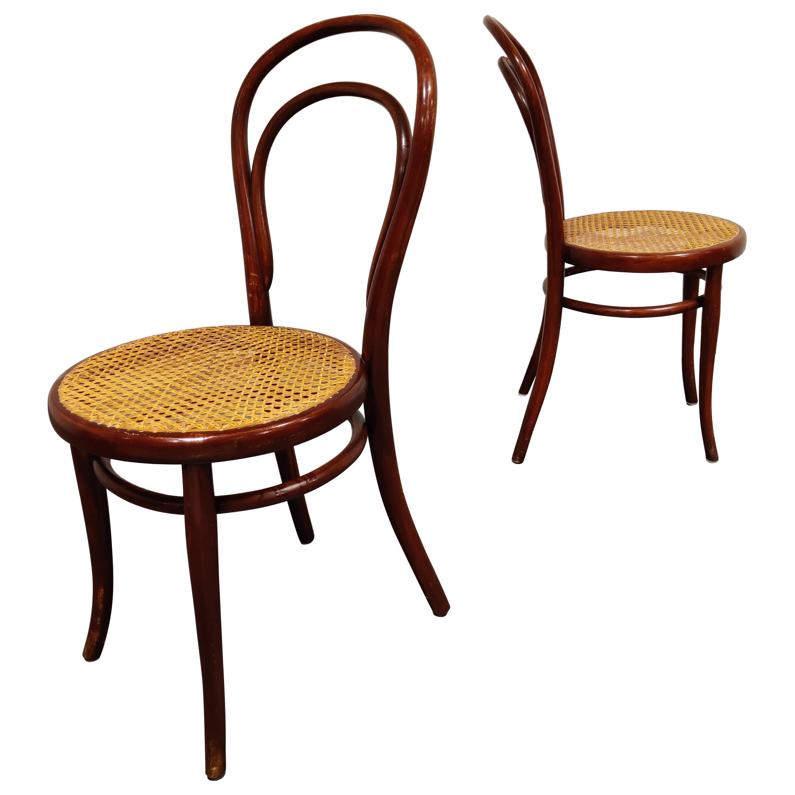 Pair of Antique Thonet Dining Chairs, 1950s