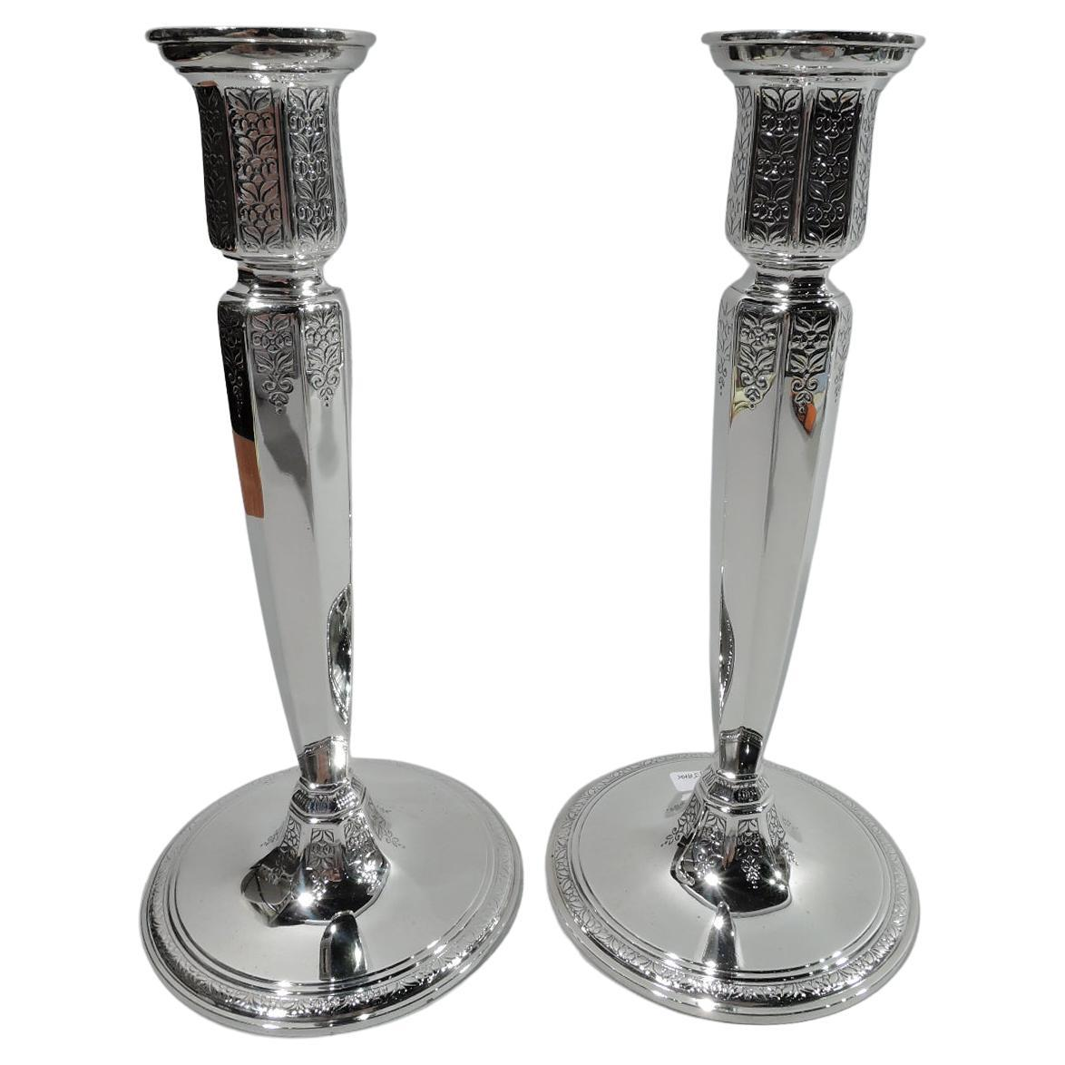 Pair of Antique Tiffany Art Deco Sterling Silver Candlesticks