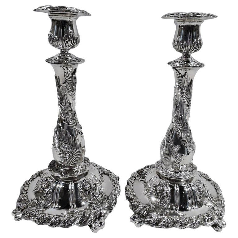 Pair of Antique Tiffany Chrysanthemum Sterling Silver Candlesticks For Sale