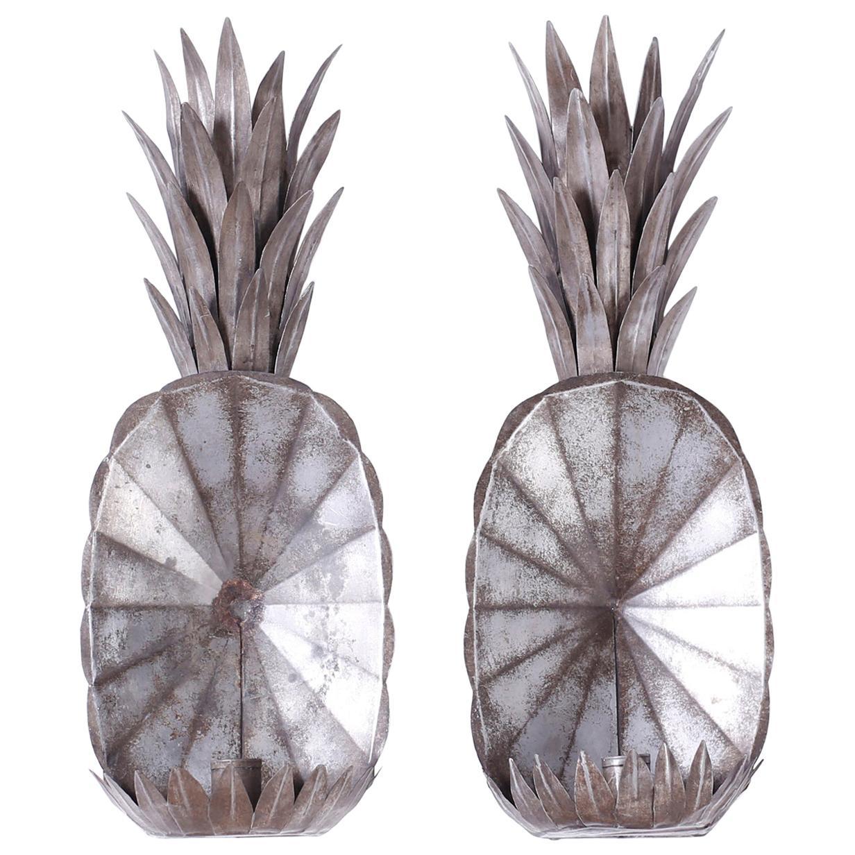 Pair of Antique Tin Pineapple Sconces