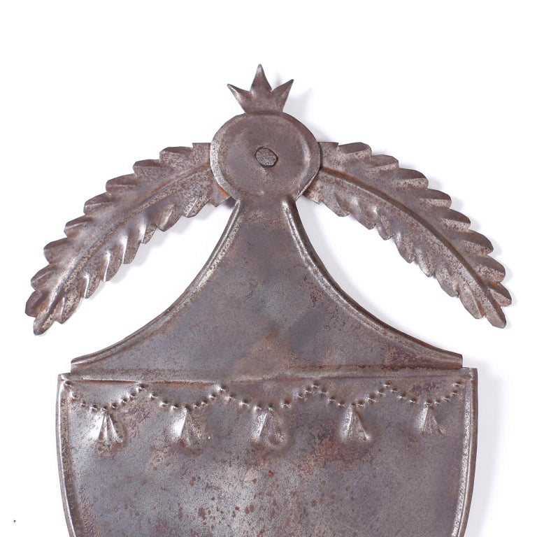 Pair of Antique Tin Shield Sconces In Good Condition For Sale In Palm Beach, FL