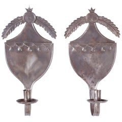 Pair of Antique Tin Shield Sconces