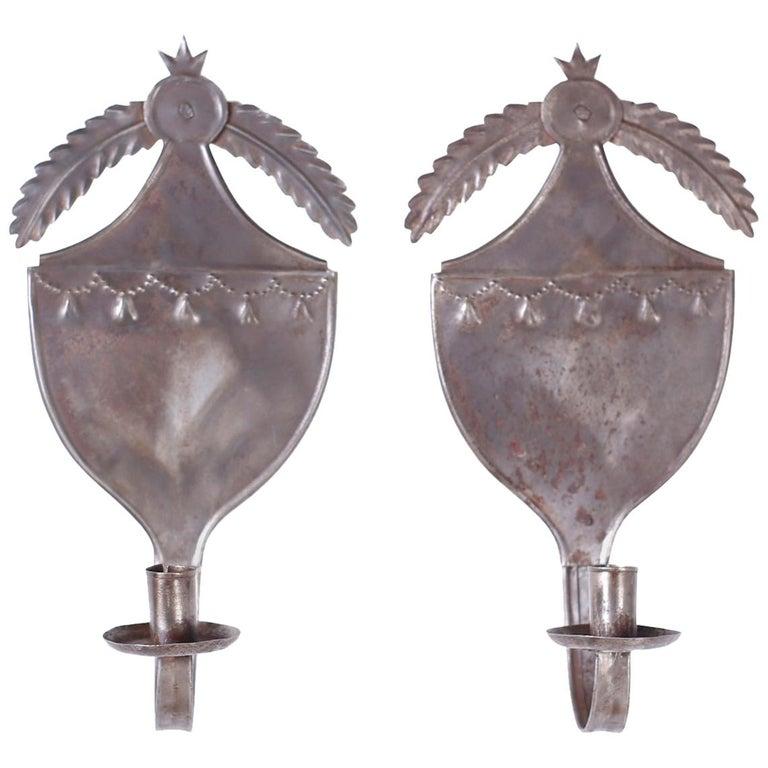 Pair of Antique Tin Shield Sconces For Sale