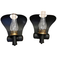 "Pair of Antique Tole ""Cobra"" Oil Lamp Sconces, Now Electrified"