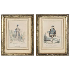 Pair of Antique Tres Petite French Prints, Hand-Colored