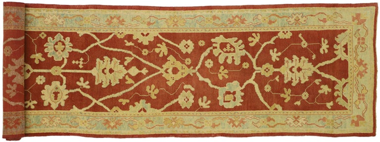 Pair of Antique Turkish Oushak Runners, Extra-Long Hallway Runners For Sale 4