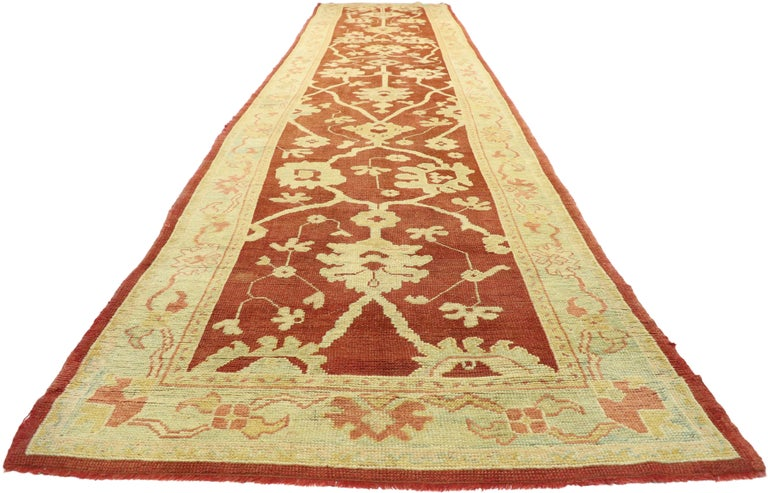 Pair of Antique Turkish Oushak Runners, Extra-Long Hallway Runners For Sale 6