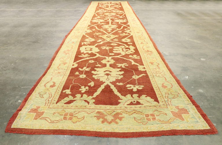 Pair of Antique Turkish Oushak Runners, Extra-Long Hallway Runners For Sale 10