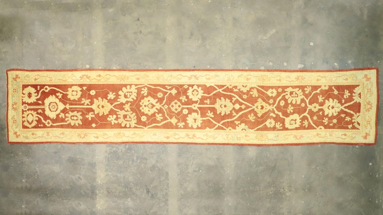 Pair of Antique Turkish Oushak Runners, Extra-Long Hallway Runners For Sale 11
