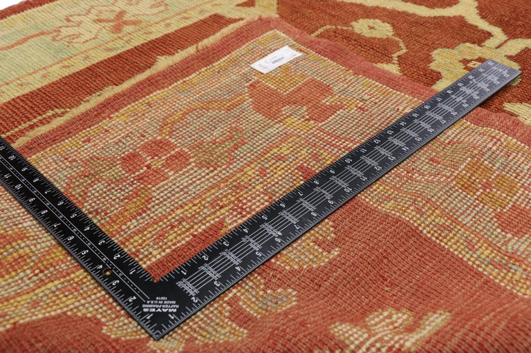 Wool Pair of Antique Turkish Oushak Runners, Extra-Long Hallway Runners For Sale