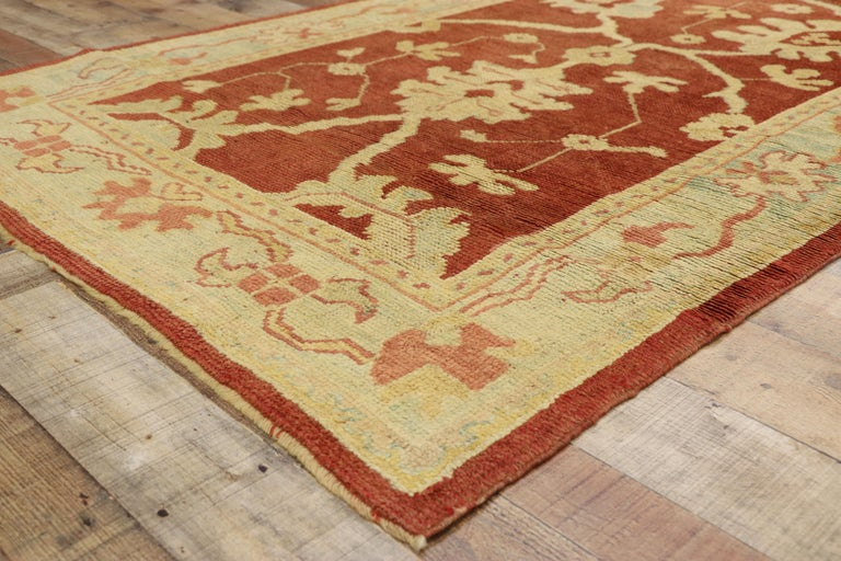 Pair of Antique Turkish Oushak Runners, Extra-Long Hallway Runners For Sale 1