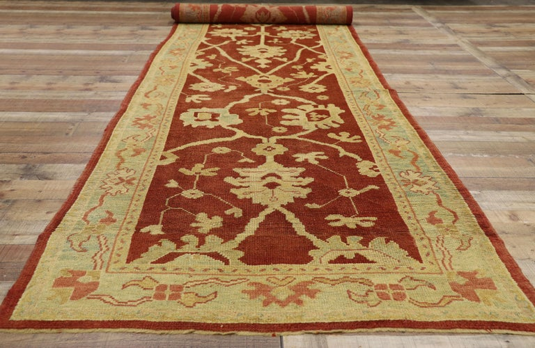 Pair of Antique Turkish Oushak Runners, Extra-Long Hallway Runners For Sale 2