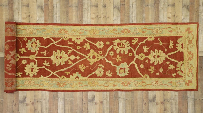 Pair of Antique Turkish Oushak Runners, Extra-Long Hallway Runners For Sale 3