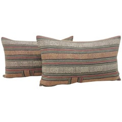 Pair of Antique Turkish Red and Black Woven Stripes Decorative Lumbar Pillows