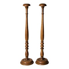 Pair of Antique Turned Wooden Hat Stands
