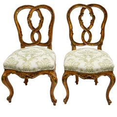 Pair of Antique Venetian Dining Chairs in Yellow Paint with Flowers & Upholstery