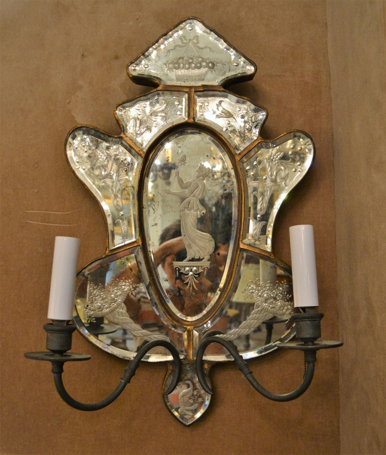 These sconces have very nice, fine etching.