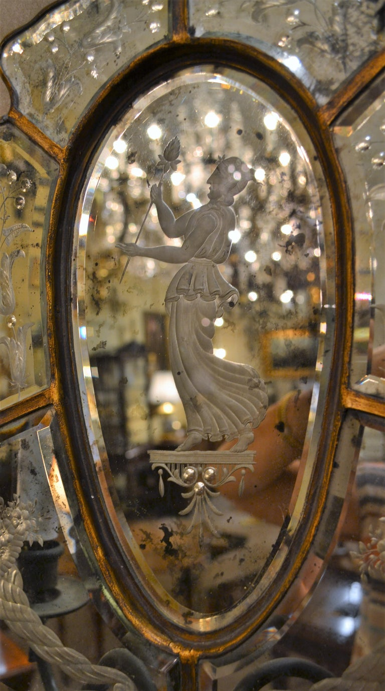 Italian Pair of Antique Venetian Glass Sconces For Sale
