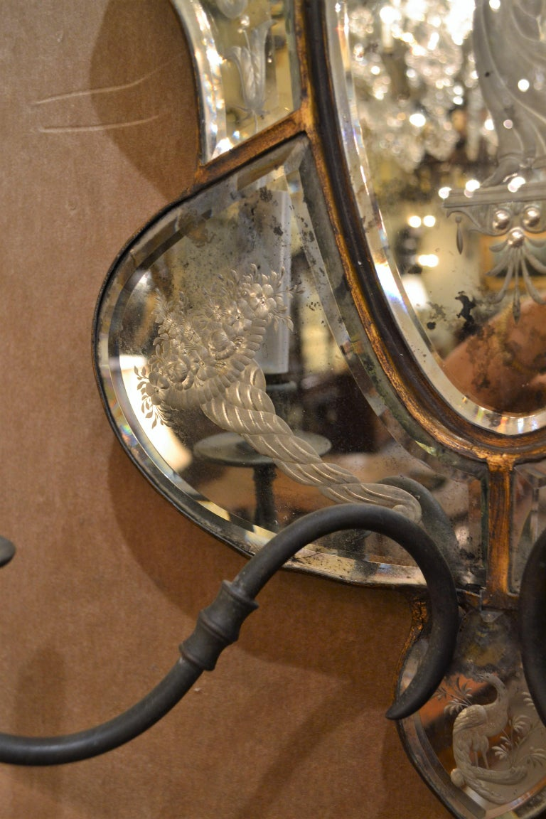 Etched Pair of Antique Venetian Glass Sconces For Sale