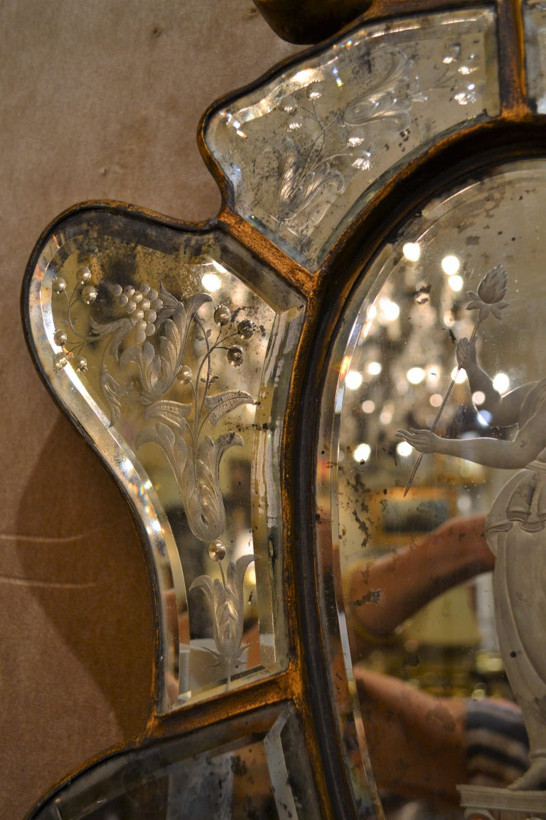 Pair of Antique Venetian Glass Sconces In Good Condition For Sale In New Orleans, LA