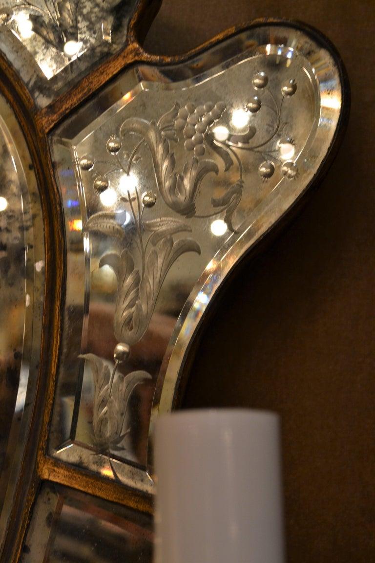 Pair of Antique Venetian Glass Sconces For Sale 1