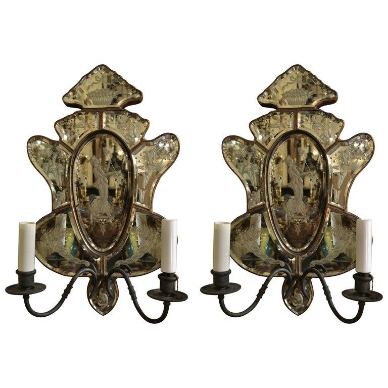 Pair of Antique Venetian Glass Sconces For Sale