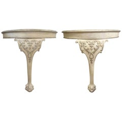 Pair of Antique Venetian Painted and Parcel Silver Gilt Consoles