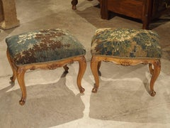 Pair of Antique Venetian Walnut Wood Stools with French Aubusson Tapestry