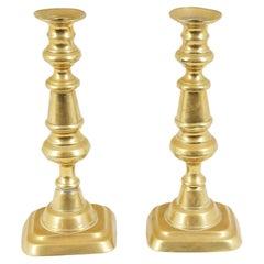 Pair of Antique Victorian Brass Candlesticks, Scotland, 1870
