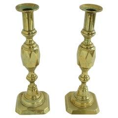 Pair of Antique Victorian Brass Diamond Shaped Candlesticks, Scotland, 1890 1951