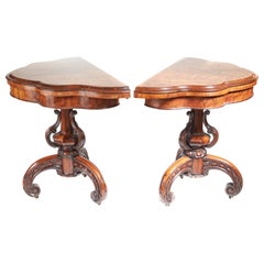 Pair of Antique Victorian Burr Walnut Card Tables, circa 1850
